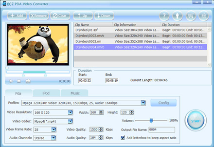 Click to view 007 PDA Video Converter 1.22 screenshot