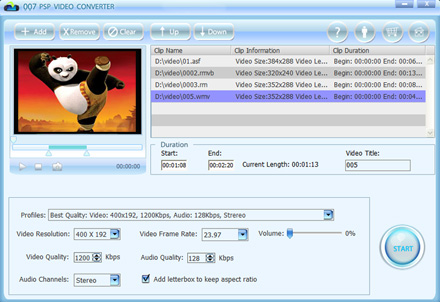 007 PSP Video Converter can convert all video formats to PSP movie and music. It