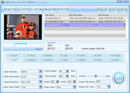 Click to view 007 Video Converter Platinum 1.42 screenshot